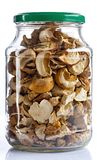 Dried mushrooms in glass jar for food storage. On a white back Stock Photography