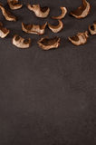 Dried mushrooms on a gray background Stock Photo