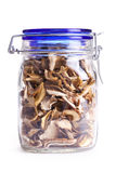 Dried mushrooms in jar Royalty Free Stock Images