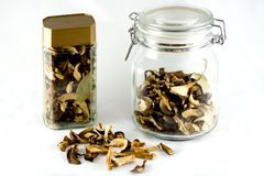 Dried mushrooms in jar Royalty Free Stock Photos