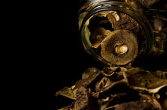 Dried Mushrooms in Jar Royalty Free Stock Photography