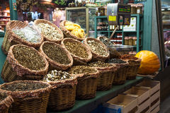 Dried mushrooms in La Boqueria market Barcelona Stock Image