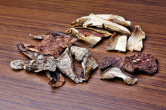 Dried mushrooms. Mix on the table Royalty Free Stock Images