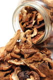 Dried mushrooms pouring out of glass jar. White background Stock Photos