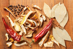 Dried mushrooms and red peppers and  spice, closeup shot Stock Image