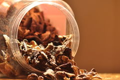 Dried mushrooms spilling from the container. Food ingredients. Stock Photos