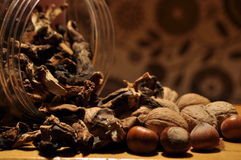 Dried mushrooms spilling from the container. Food ingredients. Forest fruits. Autumn Royalty Free Stock Image