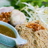 Dried noodle with vegetable. Delicious Thaifood Stock Photo