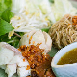 Dried noodle with vegetable. Delicious Thaifood Royalty Free Stock Images