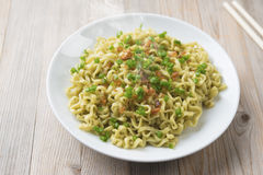 Dried noodles on plate Royalty Free Stock Images
