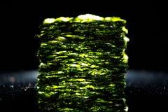 Dried nori seaweed laminaria sheets. Close-up view royalty free stock photography