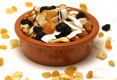 Dried nuts and fruit in a bowl Royalty Free Stock Photos