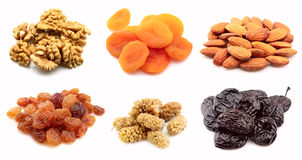 Dried nuts and fruits Royalty Free Stock Photos
