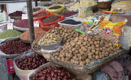 Dried nuts and grains selling at farm market Royalty Free Stock Photos