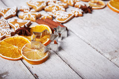 Dried orange and christmas gingerbread cookies Royalty Free Stock Photography