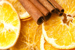 Dried orange and cinnamon sticks Royalty Free Stock Photography