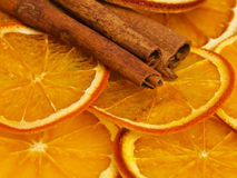 Dried orange and cinnamon Stock Images