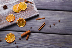 Dried orange with cinnamon sticks. Royalty Free Stock Image