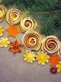 Dried orange fruits flowers stock image