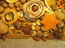 Dried orange fruits and nuts royalty free stock image