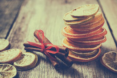 Dried orange and lemon slices, lime and cinnamon sticks Royalty Free Stock Photography