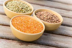 Dried orange lentils in the clay dish Stock Image