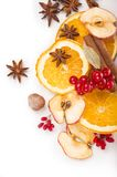 Dried orange and other fruits on a white background Royalty Free Stock Photos