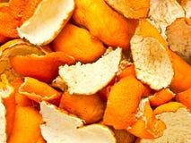 Dried orange peel. Close up of dried orange peel food background royalty free stock image