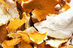 Dried orange peels background. Close up view Stock Photography