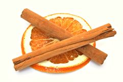 Dried orange slice with cinnamon Stock Photo