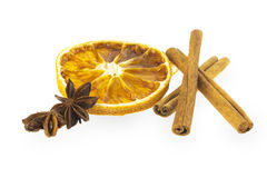 Dried orange slice with cinnamon and star anise Royalty Free Stock Images
