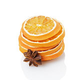 Dried orange slices with anise star Royalty Free Stock Photography