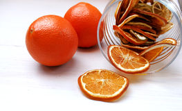 Dried orange slices on the table Stock Photography