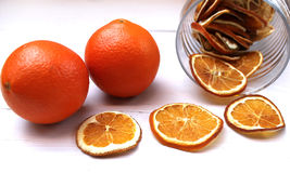 Dried orange slices on the table Royalty Free Stock Photography