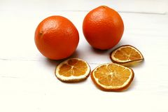 Dried orange slices on the table Stock Image
