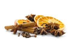 Dried orange and spices Royalty Free Stock Photo