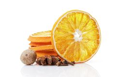Dried orange with spices on a white background Stock Image