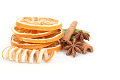 Dried orange, Star Anise, cinnamon and and green leave Royalty Free Stock Image