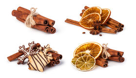 Dried oranges and cinnamon Stock Photo