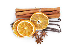 Dried oranges with cinnamon vanilla and anise Royalty Free Stock Photography