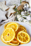 Dried oranges - decoration on a christmas table Stock Image