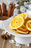 Dried oranges - decoration on a christmas table Stock Photos