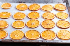 Dried Oranges. Process Of Preparation Of Orange Candied Fruits For For New Year And Christmas Party Royalty Free Stock Photography