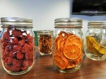 Dried oranges and raspberries