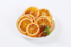 Dried oranges with spices Royalty Free Stock Image