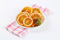 Dried oranges with spices Royalty Free Stock Photos