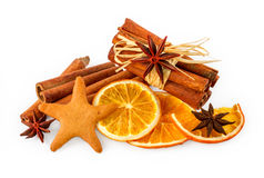 Dried oranges, star anise, cinnamon sticks and gingerbread Stock Image