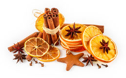 Dried oranges, star anise, cinnamon sticks and gingerbread Stock Photography