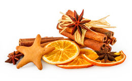 Dried oranges, star anise, cinnamon sticks and gingerbread Royalty Free Stock Photos