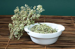 Dried oregano in a bowl Royalty Free Stock Photos
